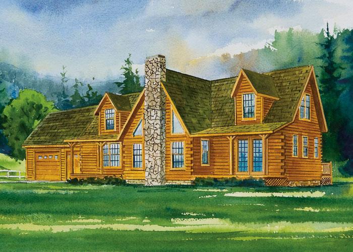 Lexington Log Home  2652 SF   4 Bedrooms. Dehart Development   PLANS